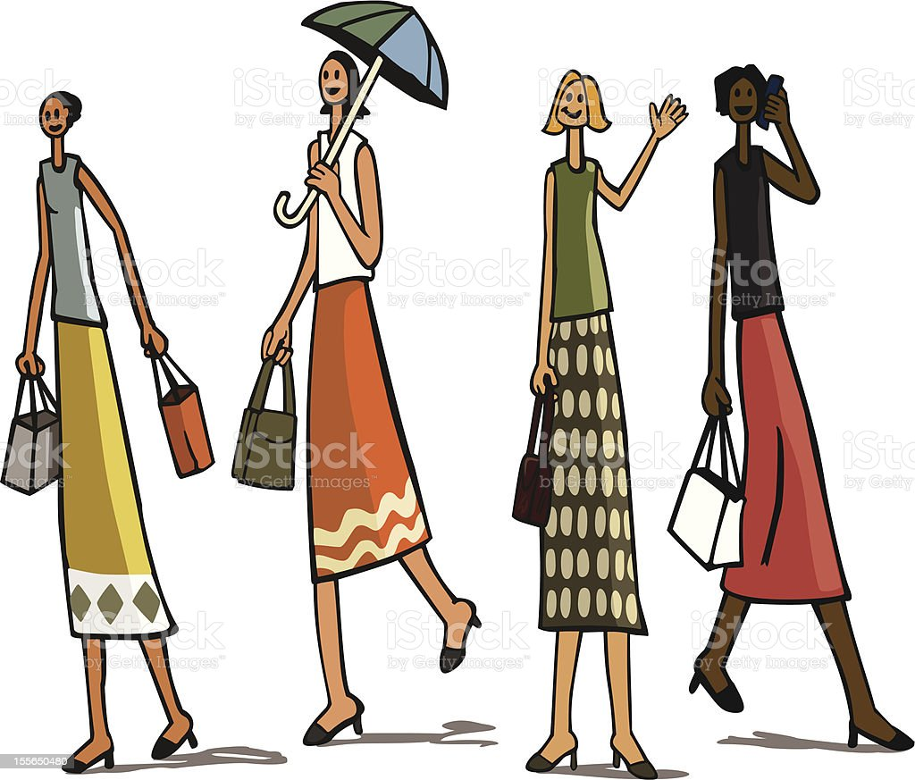 city ladies shopping royalty-free stock vector art