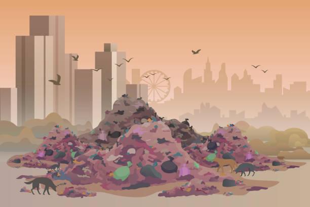 City landfill flat vector illustration vector art illustration
