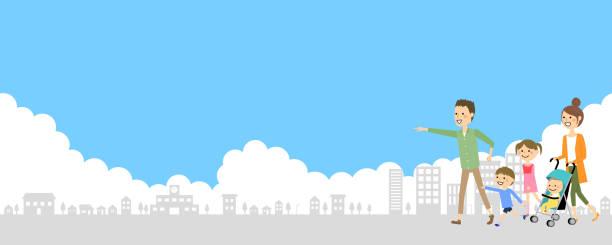 都市景観と家族 - 家族 日本人点のイラスト素材/クリップアート素材/マンガ素材/アイコン素材