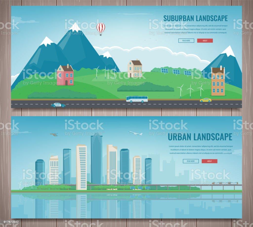 city landscape and suburban landscape building architecture