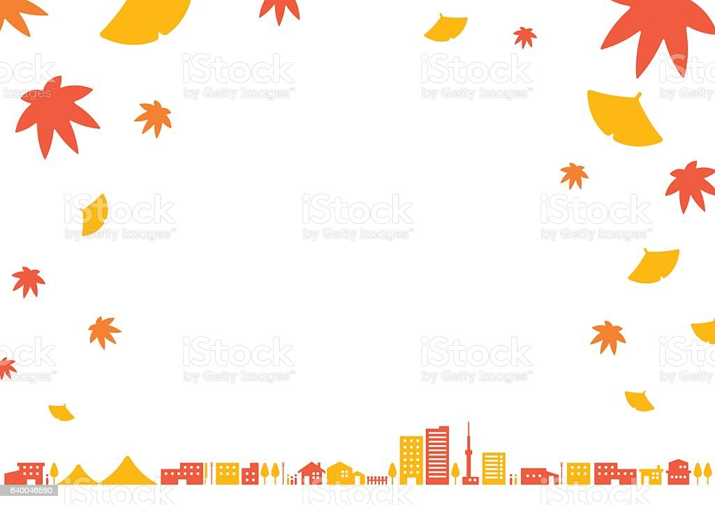 City landscape   Autumn vector art illustration