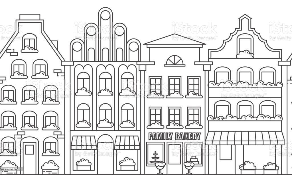 City landscape border seamless pattern with apartment houses. Line art vector illustration. vector art illustration