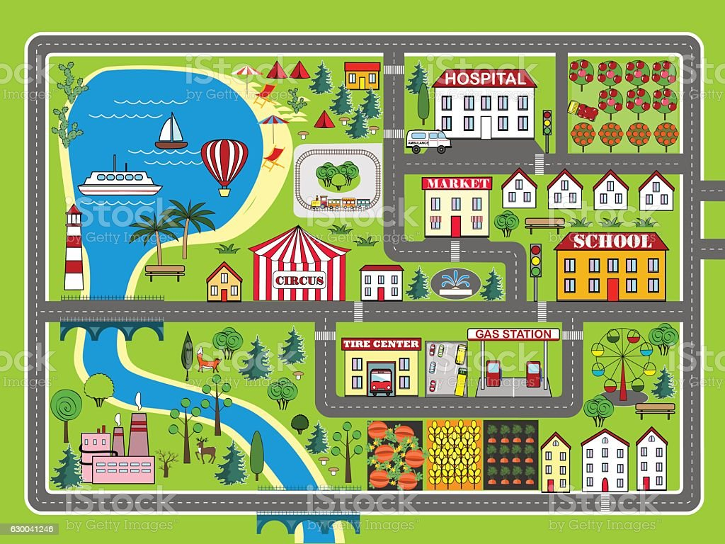 City Landscape Car Track Kids Play Mat Stock Illustration