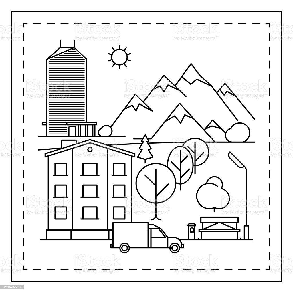 City Landscape Coloring Page For Kids Vecteurs Libres De