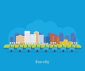 City landscape. Environmentally friendly house