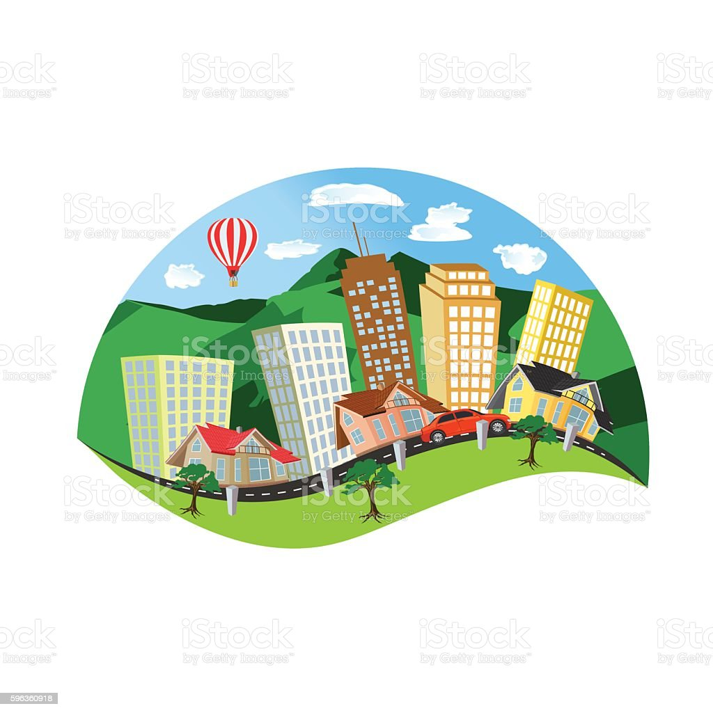 city landscape, flat design, vector illustration royalty-free city landscape flat design vector illustration stock vector art & more images of airplane