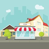 City landscape with houses and buildings vector illustration flat cartoon style, summer cityscape street with shop, modern town, urban design