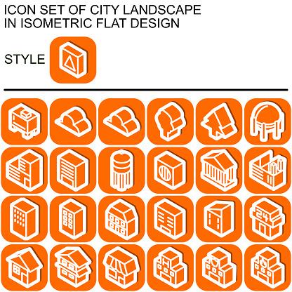 City landscape icon set,isometric flat design 120