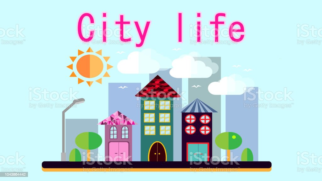 City Landscape In A Simple Flat Style With Different Tall Houses And Skyscrapers Lanterns