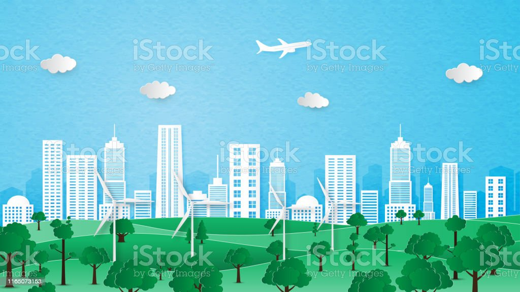 City landscape of ecology and environment conservation concept. Paper...