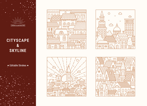 City Landscape, Old Town Linear Vector Illustrations Concept Set Isolated On Background