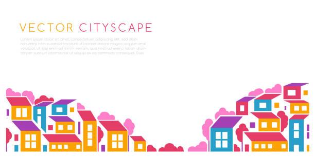 krajobraz miasta lub miasto wzgórzu panoramiczne ilustracji w prostym stylu płaskim. wektorowy element projektowy o minimalnej kompozycji geometrycznej. budynki i drzewa - house stock illustrations