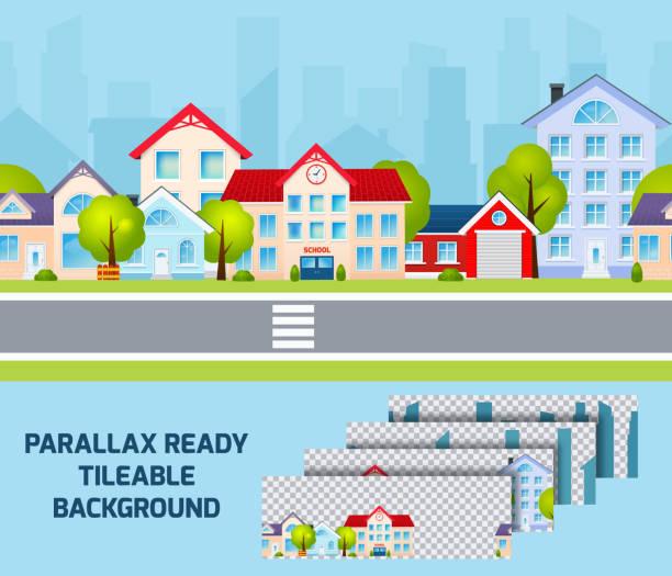 ilustrações de stock, clip art, desenhos animados e ícones de city landscape parallax - tape face