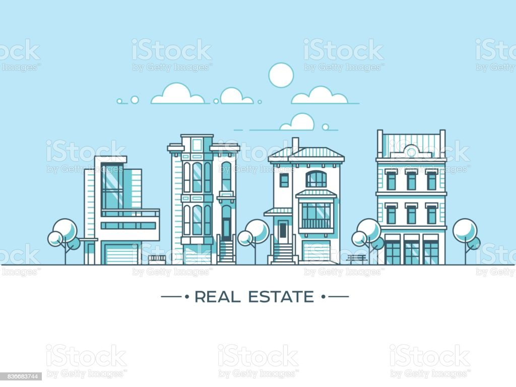 City landscape. Real estate and construction business concept with houses. Line style. Vector illustration. vector art illustration