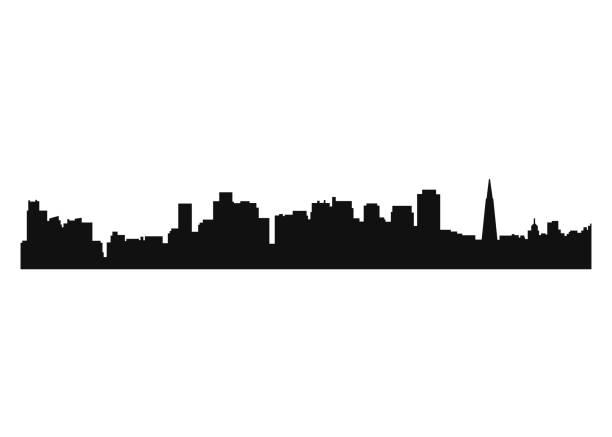 City landscape silhouette vector art illustration