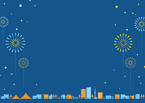 City landscape   Summer night It is a simple illustration of the city of the summer night that flourishes. fireworks stock illustrations