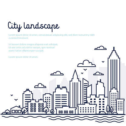 City landscape template. Thin line City landscape. Downtown landscape with high skyscrapers. Panorama architecture Government buildings Isolated outline illustration. Urban life