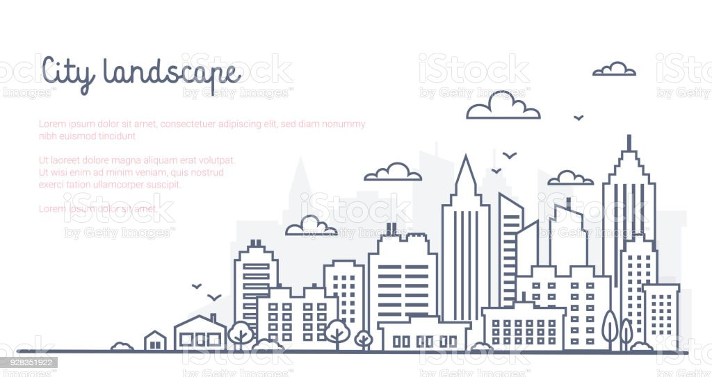 City landscape template. Thin line City landscape. Downtown landscape with high skyscrapers. Panorama architecture Goverment buildings Isolated outline illustration. Urban life royalty-free city landscape template thin line city landscape downtown landscape with high skyscrapers panorama architecture goverment buildings isolated outline illustration urban life stock illustration - download image now