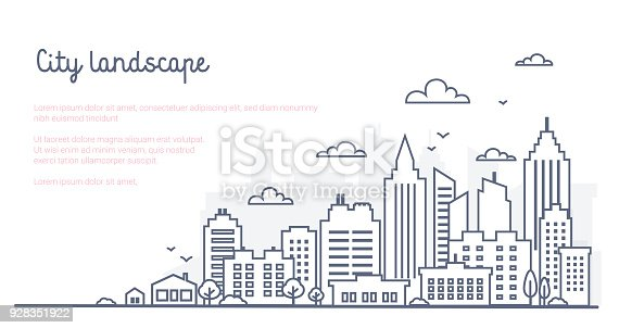 istock City landscape template. Thin line City landscape. Downtown landscape with high skyscrapers. Panorama architecture Goverment buildings Isolated outline illustration. Urban life 928351922