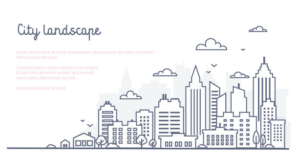 City landscape template. Thin line City landscape. Downtown landscape with high skyscrapers. Panorama architecture Goverment buildings Isolated outline illustration. Urban life City landscape template. Thin line City landscape. Downtown landscape with high skyscrapers. Panorama architecture Goverment buildings Isolated outline illustration. Urban life Vector illustration cityscape stock illustrations
