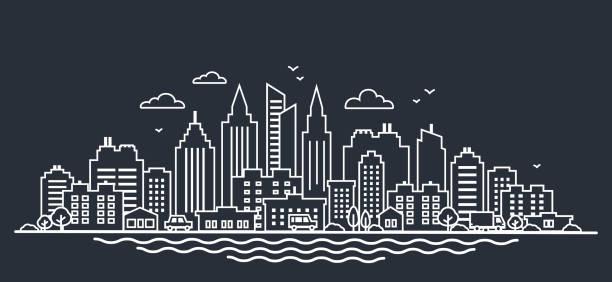 都市風景のテンプレート。細い線夜市の風景。暗闇の中に高い高層ビルでダウンタウンの風景です。パノラマ建築ストックマネジメントの概要図。スカイライン - 町点のイラスト素材/クリップアート素材/マンガ素材/アイコン素材
