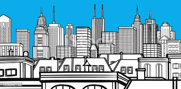 Hand-Drawn Vector, Generic City, Landscape Vector Illustration Drawing Black & White Design.
