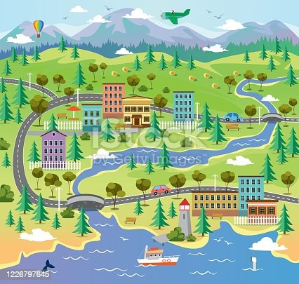 City landscape with building parks and roads vector illustration. Town surrounded by nature flat style. River with sea creatures and boat. Hot air balloon and airplane in sky