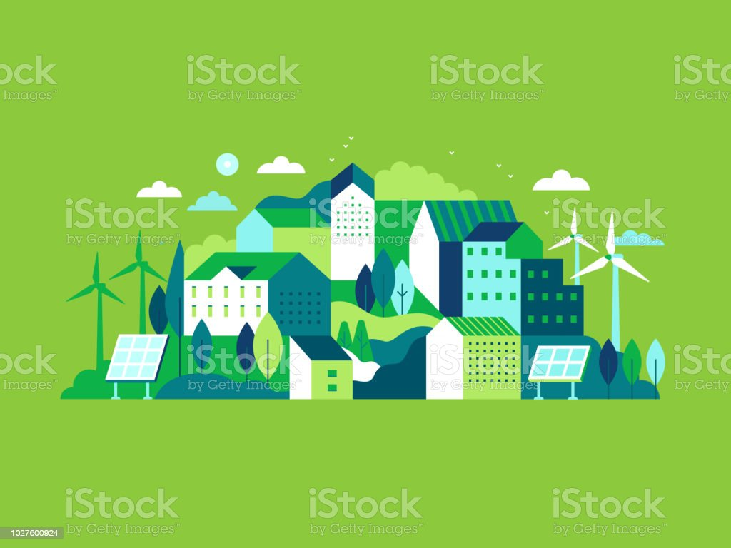 City landscape with buildings, hills and trees vector art illustration