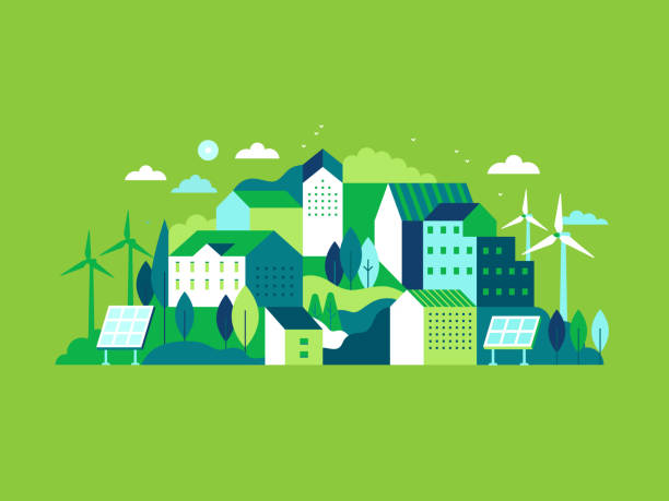 City landscape with buildings, hills and trees Vector illustration in simple minimal geometric flat style - city landscape with buildings, hills and trees with solar panels and wind turbines  - eco and green energy concept - abstract background for header images for websites, banners, covers town stock illustrations
