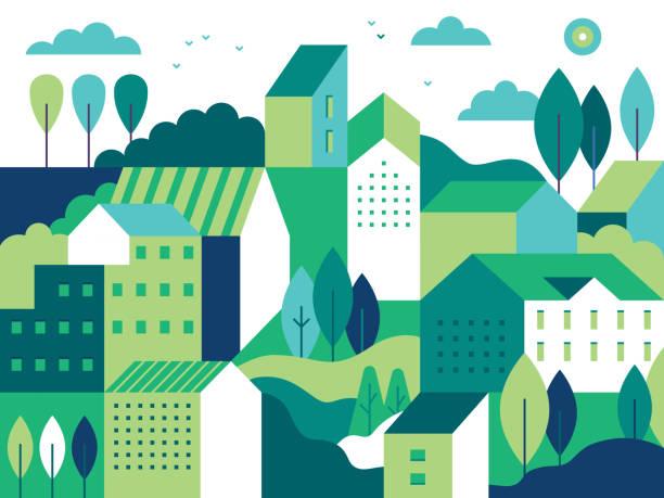 ilustrações, clipart, desenhos animados e ícones de paisagem da cidade com edifícios, colinas e árvores - horta