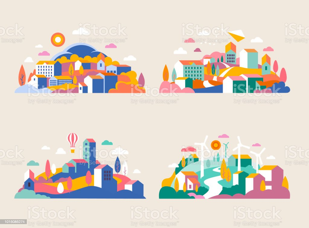 City landscape with buildings, hills and trees. Vector illustration in minimal geometric flat style. Abstract background of landscape in half-round composition for banners, covers. City with windmills royalty-free city landscape with buildings hills and trees vector illustration in minimal geometric flat style abstract background of landscape in halfround composition for banners covers city with windmills stock illustration - download image now