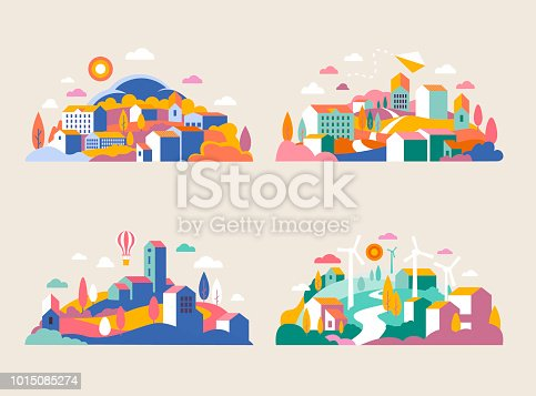 Abstract background of landscape in half-round composition for banners, covers.