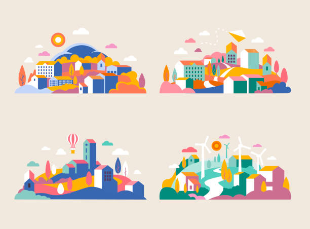 City landscape with buildings, hills and trees. Vector illustration in minimal geometric flat style. Abstract background of landscape in half-round composition for banners, covers. City with windmills Abstract background of landscape in half-round composition for banners, covers. town stock illustrations