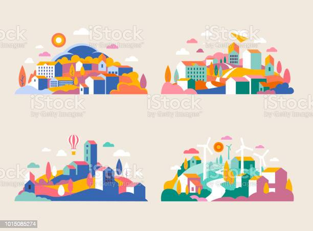 City Landscape With Buildings Hills And Trees Vector Illustration In Minimal Geometric Flat Style Abstract Background Of Landscape In Halfround Composition For Banners Covers City With Windmills - Arte vetorial de stock e mais imagens de Arquitetura