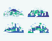 City landscape with buildings, hills and trees. Abstract background of landscape in half-round composition for banners, covers. City with windmills