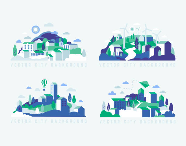 City landscape with buildings, hills and trees. Vector illustration in minimal geometric flat style. City landscape with buildings, hills and trees. Abstract background of landscape in half-round composition for banners, covers. City with windmills town stock illustrations