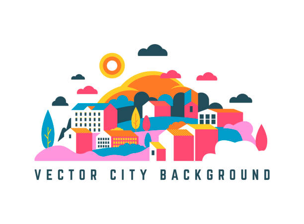 City landscape with buildings, hills and trees. Vector illustration in minimal geometric flat style. Abstract background of landscape in half-round composition for banners, covers. village stock illustrations
