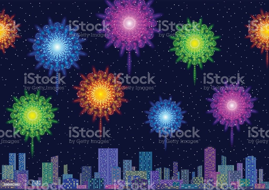 Stadtlandschaft mit Feuerwerk – Vektorgrafik