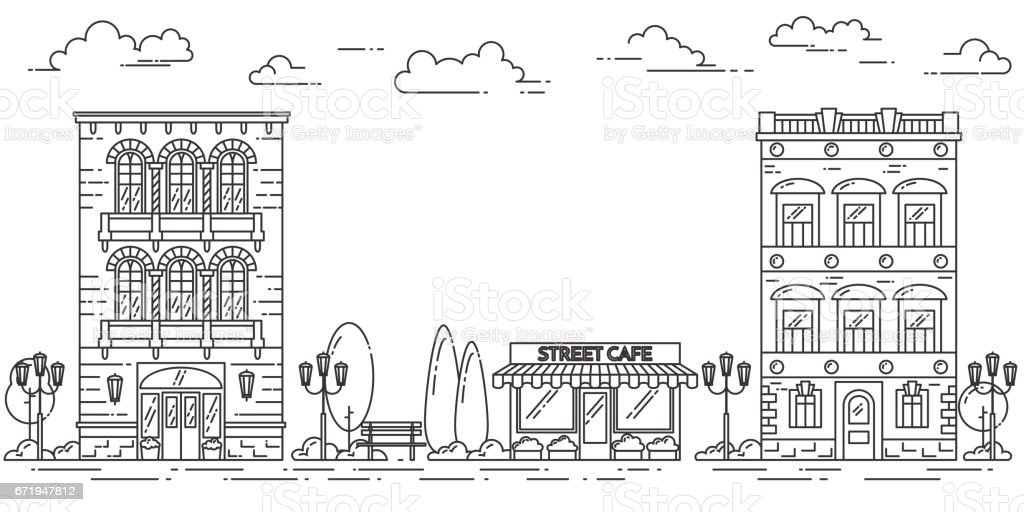 City landscape with houses cafe trees clouds Line art vector art illustration