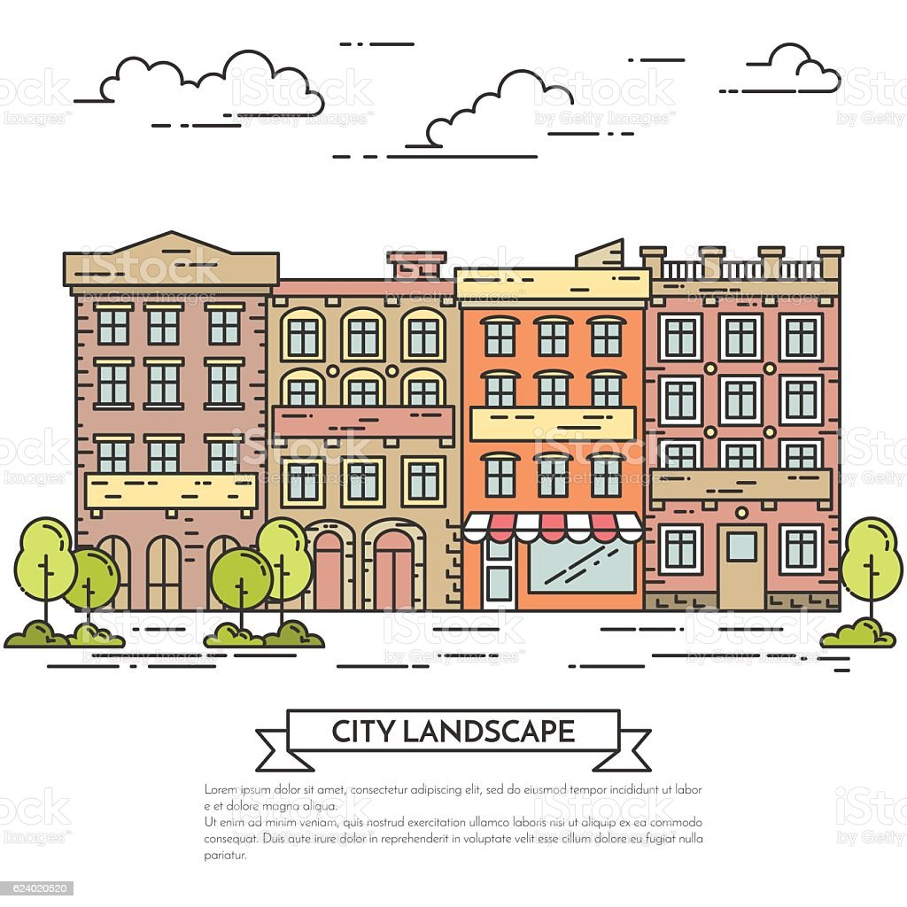City landscape with houses, trees and clouds Flat line art vector art illustration