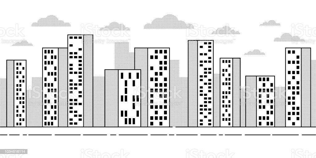 Paysage De La Ville Avec Des Gratteciel Contour Simple De