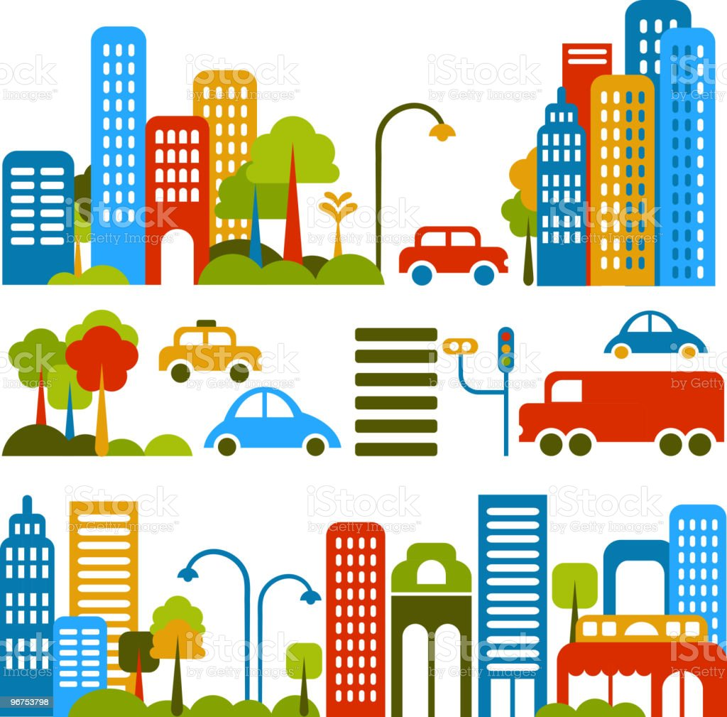 city lanscape with a vector icons and symbols vector art illustration