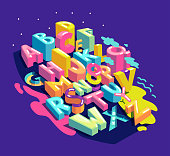 Alphabet city letters. Vector color abstract illustration font composition