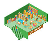 City Library Interior with Furniture Isometric View Education, Knowledge and Study Concept. Vector illustration with Bookshelf and People