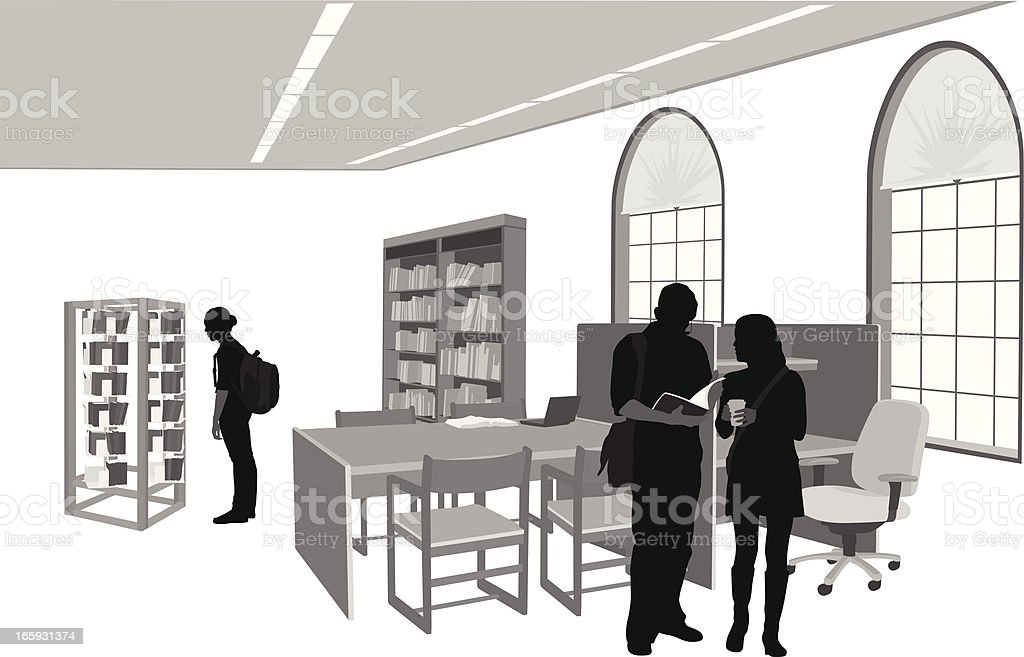 City Library Vector Silhouette royalty-free stock vector art