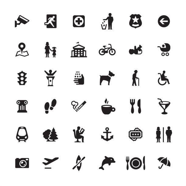 City life and Public Space - icons set vector art illustration