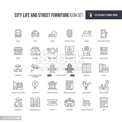 29 City Life and Street Furniture Editable Icons - Editable Stroke - Easy to edit and customize - You can easily customize the stroke with