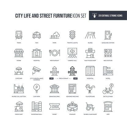 City Life and Street Furniture Editable Stroke Line Icons