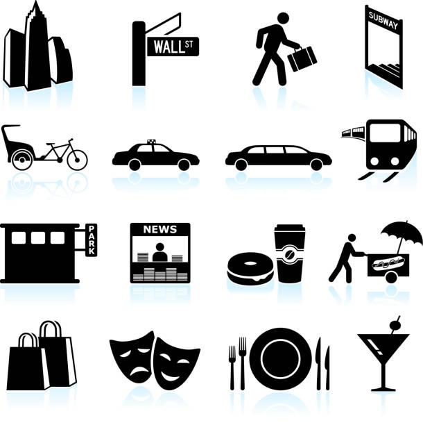 City Life black & white royalty free vector icon set City Life black & white icon set news stand stock illustrations