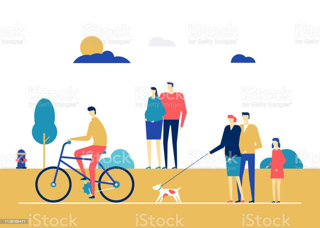 City life - flat design style colorful illustration. High quality...